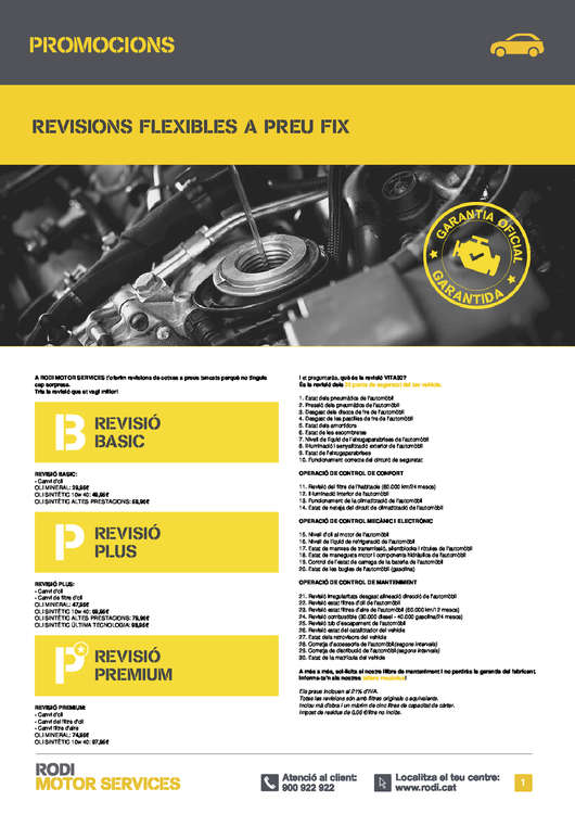 Ofertas de Rodi, Revisions flexibles a preu fix