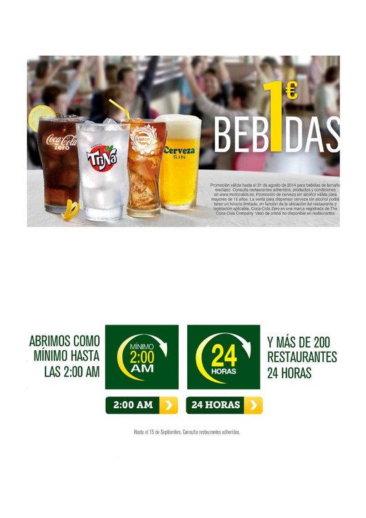 Ofertas de McDonald's, Bebidas a 1€. Abierto hasta 2:00h