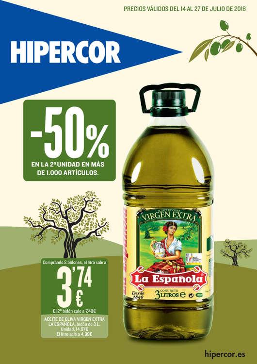 Ofertas de Hipercor, -50% en la 2ª unidad en más de 1000 artículos